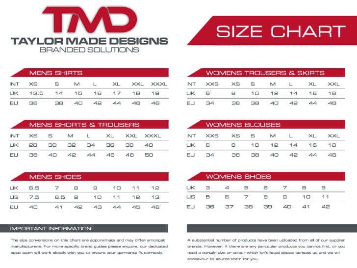 Taylor Made Designs Size Chart
