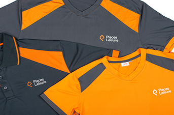 places leisure sports tops orange and grey tri dri