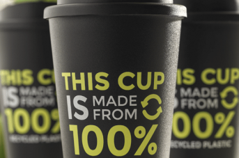 100% RECYCLED PLASTIC COFFEE CUPS